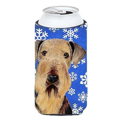 Airedale Winter Snowflakes Holiday Tall Boy bottle sleeve Hugger 22 To 24 oz.