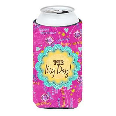 Happy Birthday The Big Day Pink Tall Boy bottle sleeve Hugger 22 To 24 oz.