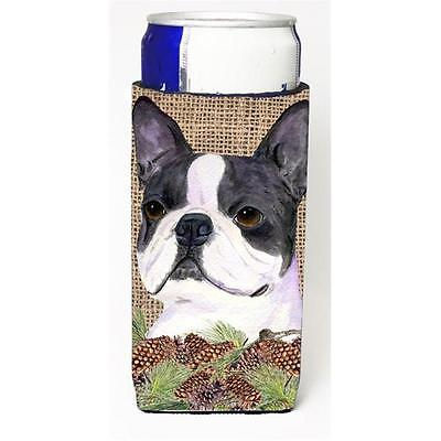 Boston Terrier On Faux Burlap With Pine Cones Michelob Ultra bottle sleeves F...