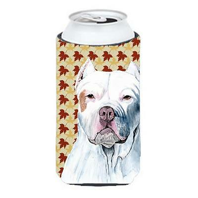 Pit Bull Fall Leaves Portrait Tall Boy bottle sleeve Hugger 22 To 24 oz.