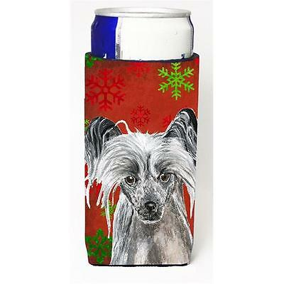 Chinese Crested Red Snowflake Christmas Michelob Ultra bottle sleeves For Sli...