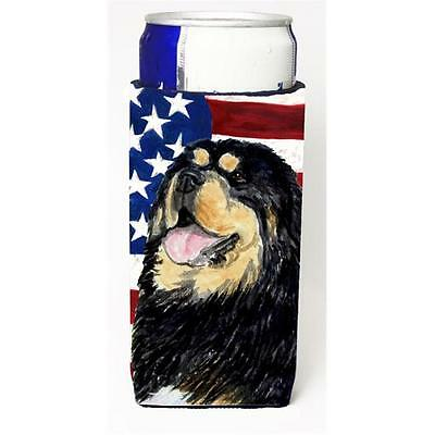 Usa American Flag With Tibetan Mastiff Michelob Ultra bottle sleeves For Slim...