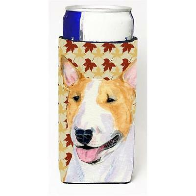 Bull Terrier Fall Leaves Portrait Michelob Ultra bottle sleeve for Slim Can