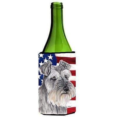 Carolines Treasures USA American Flag with Schnauzer Wine Bottle Hugger