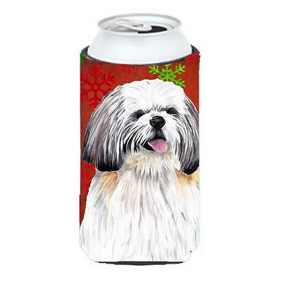 Shih Tzu Red and Green Snowflakes Holiday Christmas Tall Boy Hugger