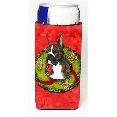 Brindle Boxer Cristmas Wreath Michelob Ultra bottle sleeves For Slim Cans