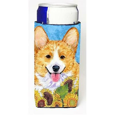 Corgi In Summer Flowers Michelob Ultra bottle sleeves For Slim Cans 12 oz.