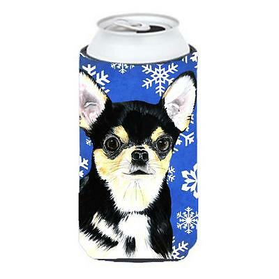 Chihuahua Winter Snowflakes Holiday Tall Boy bottle sleeve Hugger