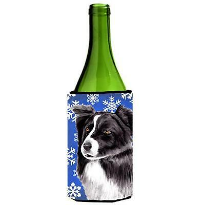 Border Collie Winter Snowflakes Holiday Wine bottle sleeve Hugger 24 oz.