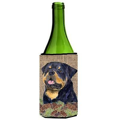 Rottweiler On Faux Burlap With Pine Cones Wine bottle sleeve Hugger 24 oz.
