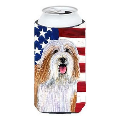 Usa American Flag With Bearded Collie Tall Boy bottle sleeve Hugger 22 To 24 Oz.