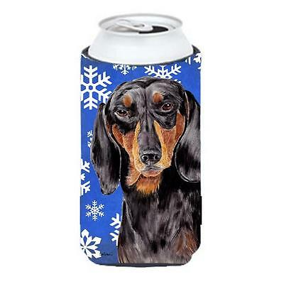 Dachshund Winter Snowflakes Holiday Tall Boy bottle sleeve Hugger 22 To 24 oz.