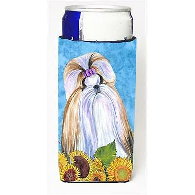 Shih Tzu In Summer Flowers Michelob Ultra bottle sleeves For Slim Cans 12 Oz.