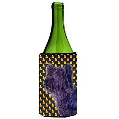 Skye Terrier Candy Corn Halloween Portrait Wine bottle sleeve Hugger 24 Oz.