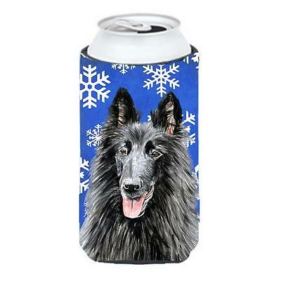 Belgian Sheepdog Winter Snowflakes Holiday Tall Boy bottle sleeve Hugger • AUD 47.47