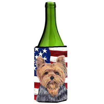 Carolines Treasures USA American Flag with Yorkie Wine Bottle Hugger