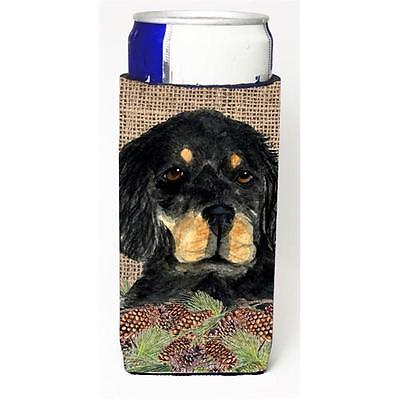 Gordon Setter On Faux Burlap With Pine Cones Michelob Ultra bottle sleeves Fo...