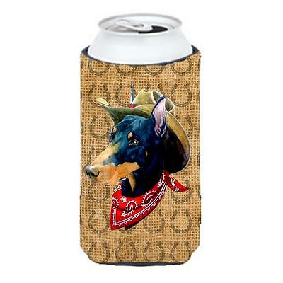 Doberman Dog Country Lucky Horseshoe Tall Boy bottle sleeve Hugger