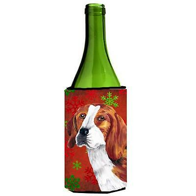Beagle Red and Green Snowflakes Holiday Christmas Wine Bottle Hugger
