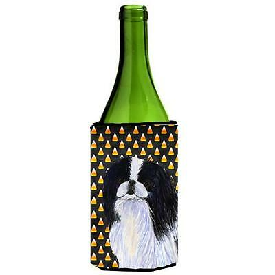 Japanese Chin Candy Corn Halloween Portrait Wine bottle sleeve Hugger 24 Oz.