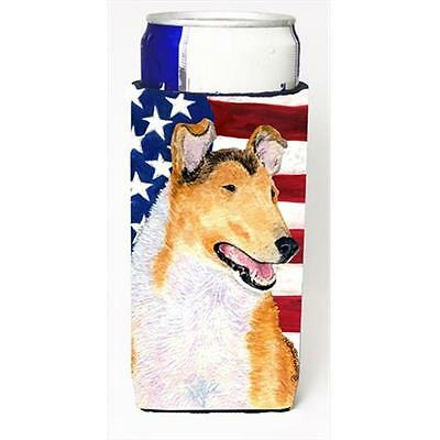 Usa American Flag With Collie Smooth Michelob Ultra bottle sleeves For Slim Cans