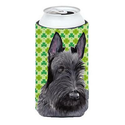 Scottish Terrier St. Patricks Day Shamrock Portrait Tall Boy bottle sleeve Hu...