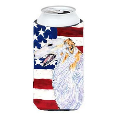 Usa American Flag With Borzoi Tall Boy bottle sleeve Hugger 22 To 24 Oz.