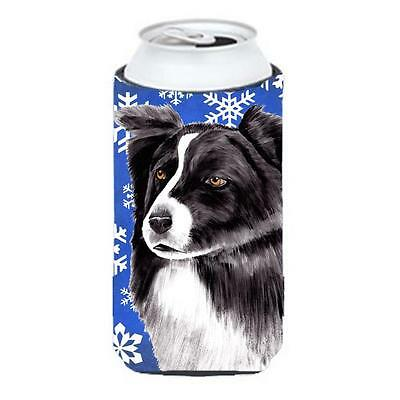 Border Collie Winter Snowflakes Holiday Tall Boy bottle sleeve Hugger 22 To 2...