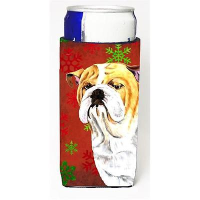 Bulldog English Red and Green Snowflakes Holiday Christmas Michelob Ultra s f...