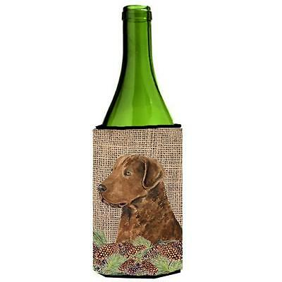 Curly Coated Retriever On Faux Burlap With Pine Cones Wine bottle sleeve Hugg...