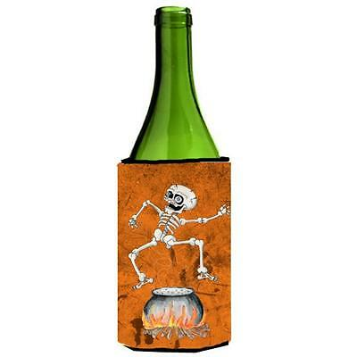 Skeleton Jumping From Witches Caldron Halloween Wine bottle sleeve Hugger 24 oz.