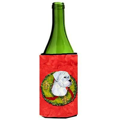 Carolines Treasures White Boxer Cristmas Wreath Wine bottle sleeve Hugger