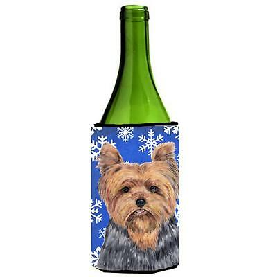 Carolines Treasures Yorkie Winter Snowflakes Holiday Wine bottle sleeve Hugger