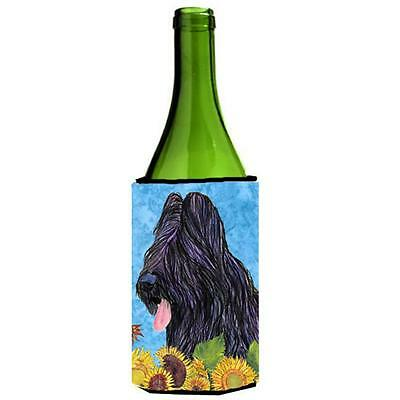 Carolines Treasures Briard In Summer Flowers Wine bottle sleeve Hugger 24 oz.