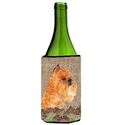 Brussels Griffon on Faux Burlap with Pine Cones Wine bottle sleeve Hugger 24 oz.