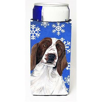 Welsh Springer Spaniel Winter Snowflakes Holiday Michelob Ultra bottle sleeve...