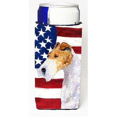 Usa American Flag With Fox Terrier Michelob Ultra bottle sleeve for Slim Can