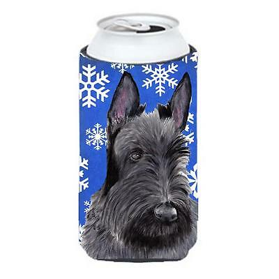 Scottish Terrier Winter Snowflakes Holiday Tall Boy bottle sleeve Hugger