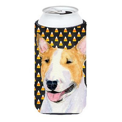 Bull Terrier Candy Corn Halloween Portrait Tall Boy bottle sleeve Hugger 22 T...