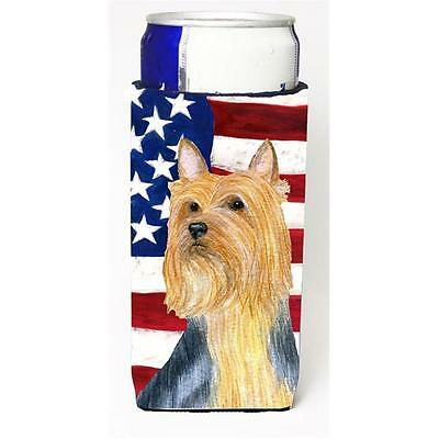 USA American Flag With Silky Terrier Michelob Ultra bottle sleeves For Slim C...
