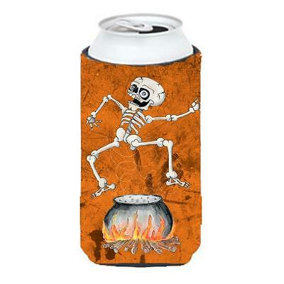 Skeleton Jumping From Witches Caldron Halloween Tall Boy bottle sleeve Hugger...