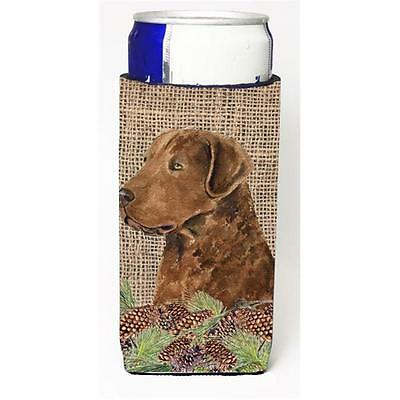Curly Coated Retriever On Faux Burlap With Pine Cones Michelob Ultra bottle s...