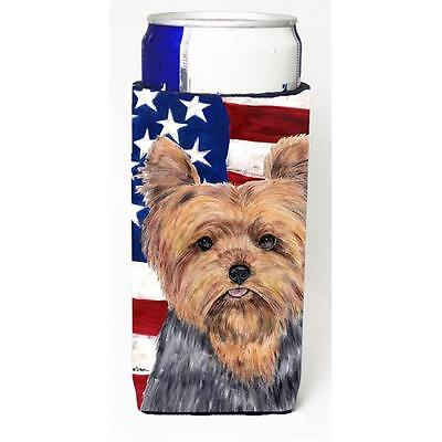 Carolines Treasures USA American Flag with Yorkie Michelob Ultra s for slim cans
