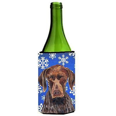 German Shorthaired Pointer Winter Snowflakes Holiday Wine bottle sleeve Hugger