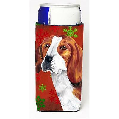 Beagle Red and Green Snowflakes Holiday Christmas Michelob Ultra s for slim cans
