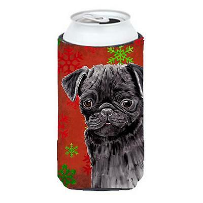 Pug Red And Green Snowflakes Holiday Christmas Tall Boy bottle sleeve Hugger