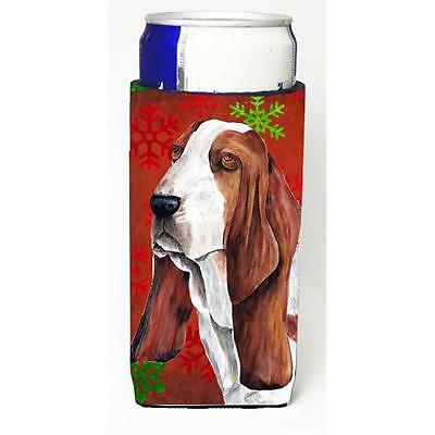 Basset Hound Red and Green Snowflakes Holiday Christmas Michelob Ultra s for ...