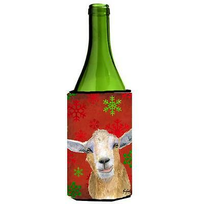 Red Snowflakes Goat Christmas Wine bottle sleeve Hugger 24 oz.