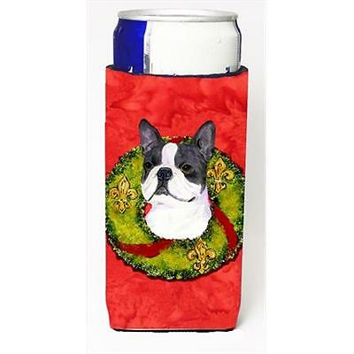 Boston Terrier Cristmas Wreath Michelob Ultra bottle sleeves For Slim Cans