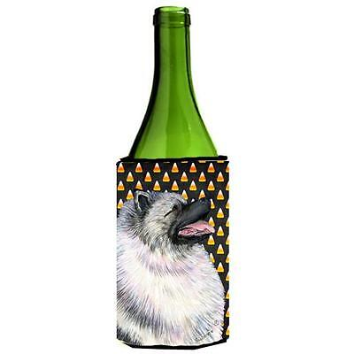 Keeshond Candy Corn Halloween Portrait Wine bottle sleeve Hugger 24 Oz.